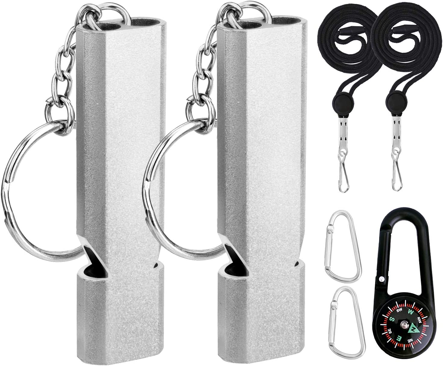 Emergency Whistle  High Frequency  Aluminum  1x Piece  Gray