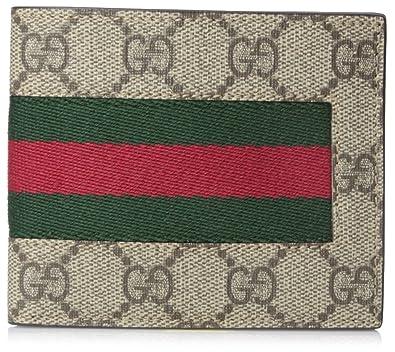 bed844f12bd52 Amazon.com  GUCCI Men s GG Supreme Canvas Signature Stripe Bi-Fold Wallet