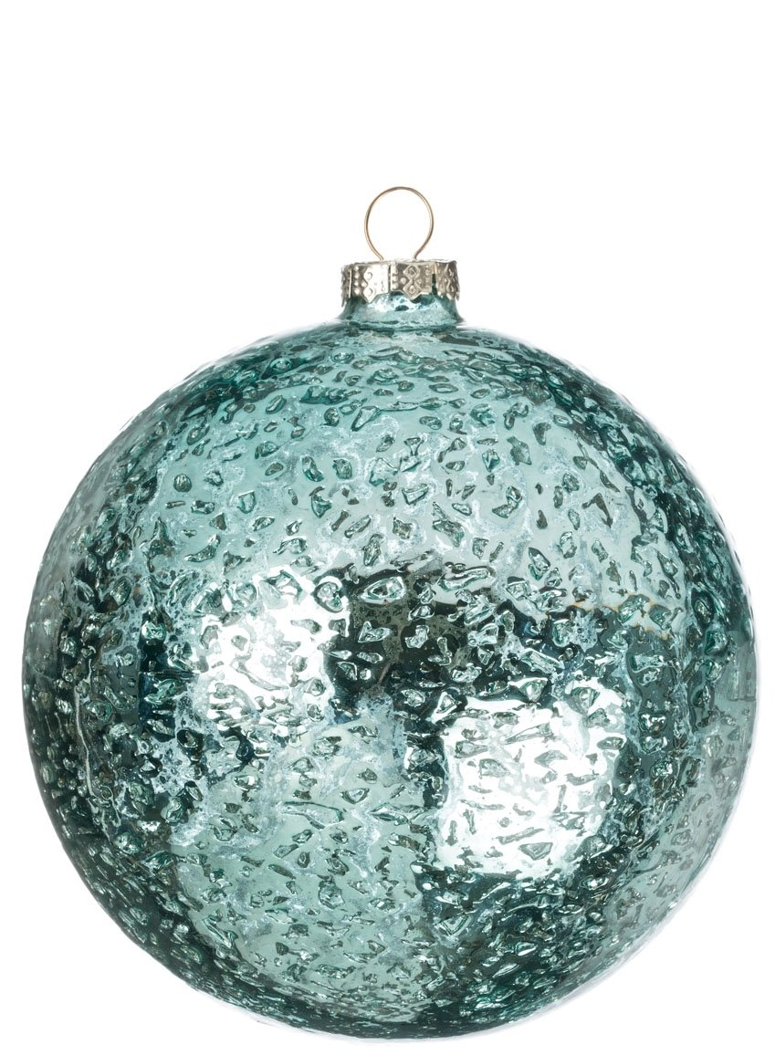 Sparkling Aquamarine Glass Ball Ornaments Set of 6