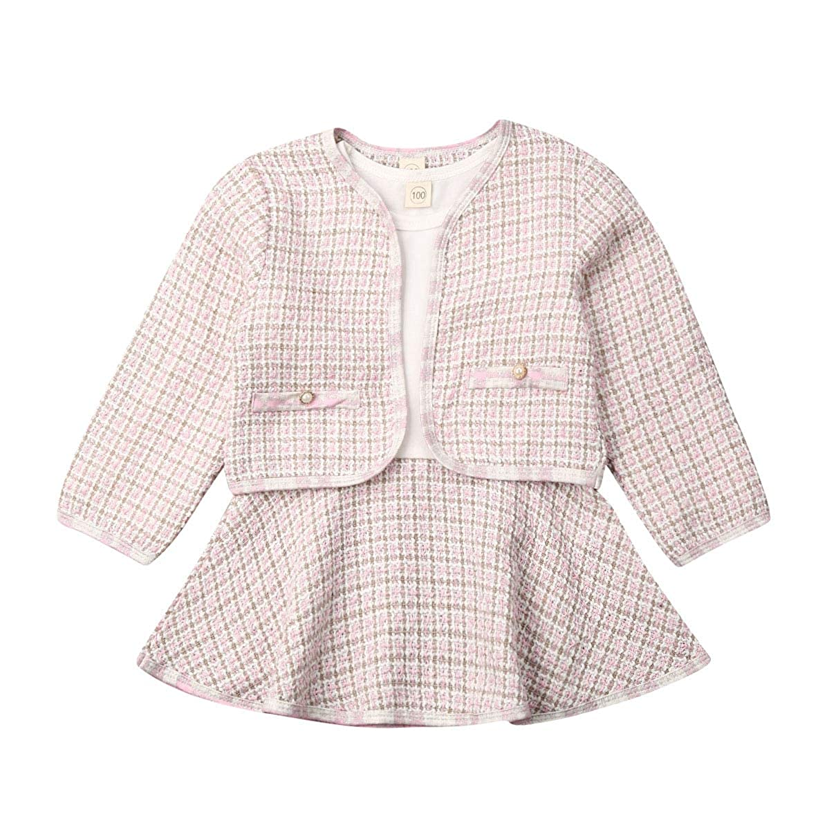 Newborn Kid Girls Warm Knitted Long Sleeve Hairball T-Shirt Tops+Button Mini Skirts Dress Outfits Clothes Set