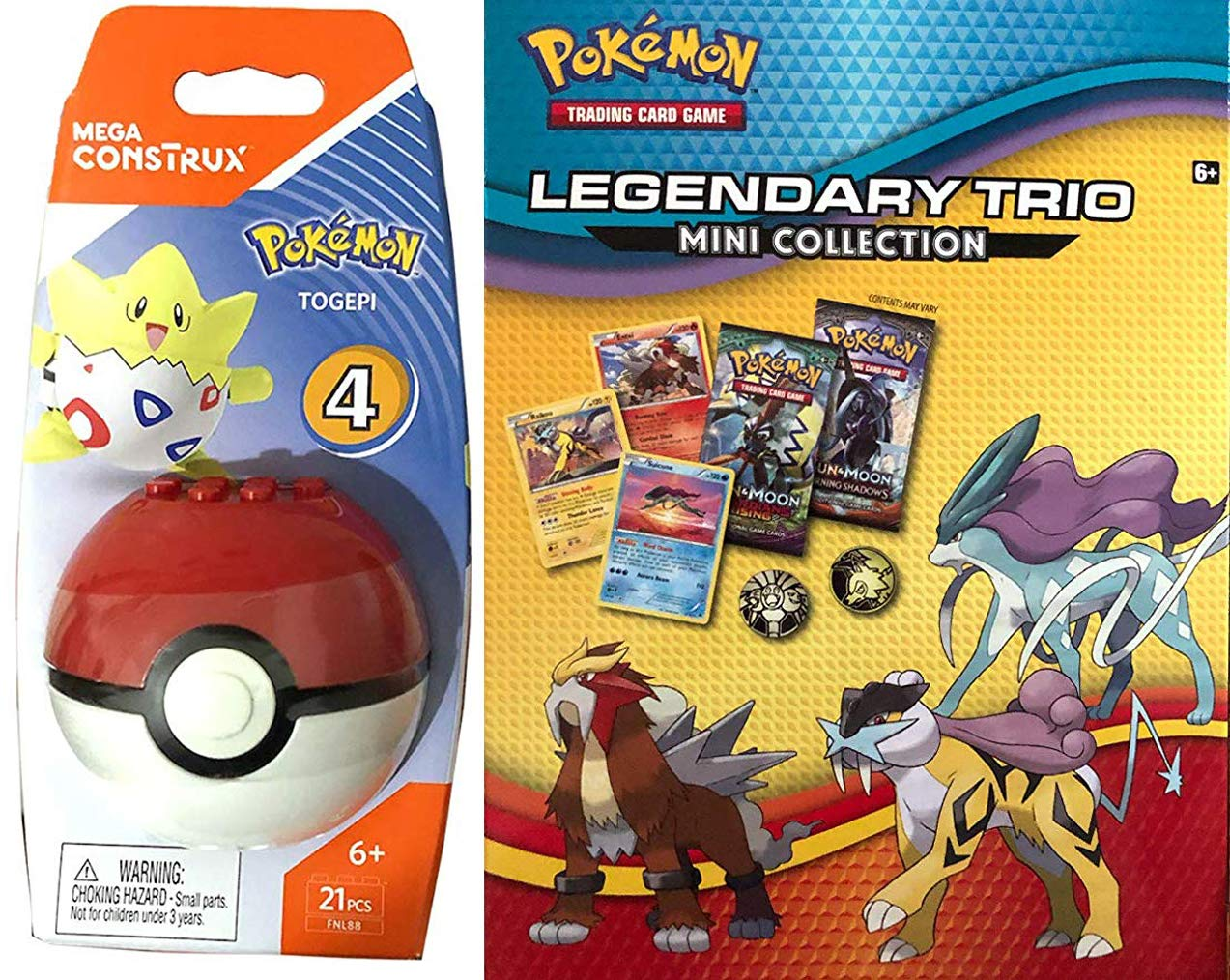 Mega Construx Trading Pokeball Togepi Trouble Pokemon Building Set Figure Bundled with Legendary Trio Mini Collection Card Game 2 Items