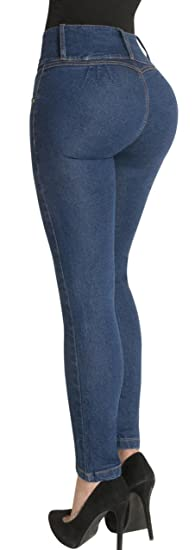 5a35669663 Fiorella Shapewear Butt Lifter Jeans High Waist Push Up Authenthic Levanta  Cola Colombianos 500BB Blue Size