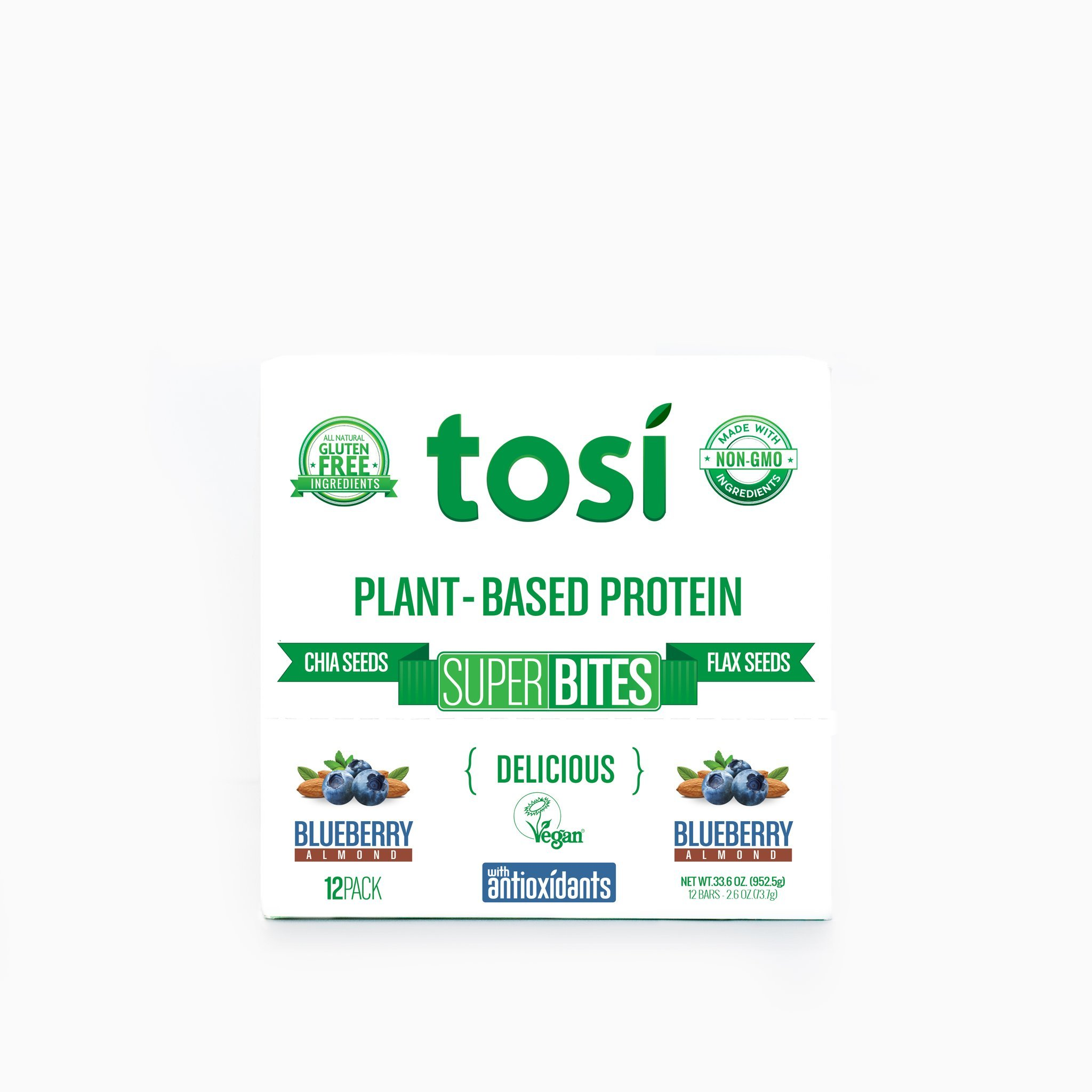 Tosi SuperBites Blueberry Almond, 2.6 oz Bar, 12 Count Pack/Vegan, Plant-Based, Gluten Free, Omega 3's and Fiber