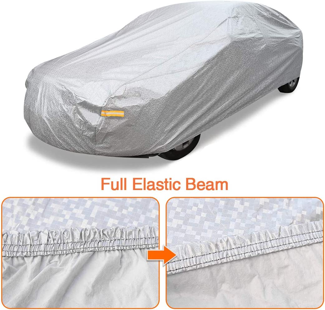 uxcell 2XXL Silver Tone Soft Aluminum Car Cover Outdoor Weather Waterproof Breathable Scratch Rain Snow Heat Resistant 480 x 190 x 180cm