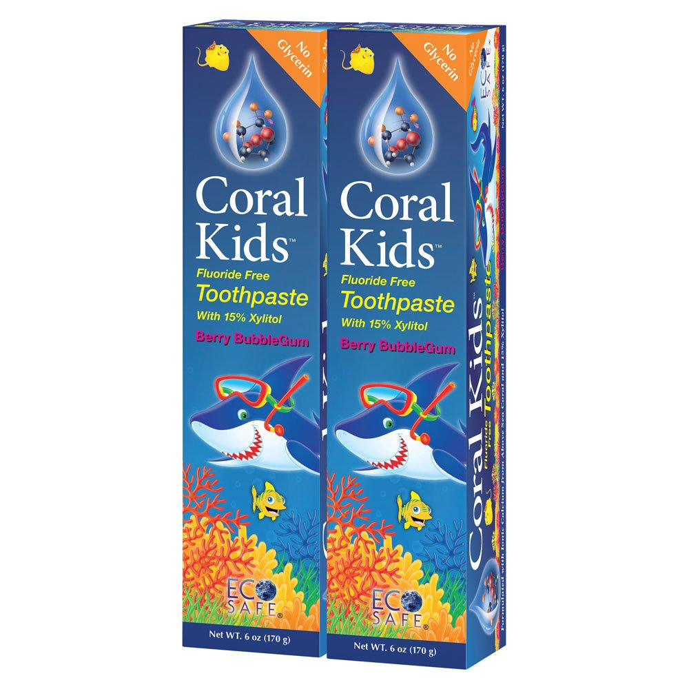Coral Kids Natural Fluoride Free Toothpaste Berry Bubble-Gum Flavor - Natural, Safe Effective Cavity Protection - Made with Ionic Coral Minerals Free of Sodium Lauryl Sulfate - 6 Ounce (Pack of 2)