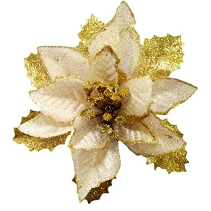 christmas glitter poinsettia christmas tree ornaments pack of 12 gold