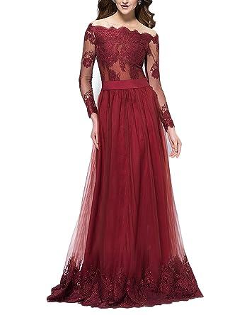 JoJoBridal Womens Off Shoulder Tulle Evening Prom Dress Sleeves Burgundy Size 2