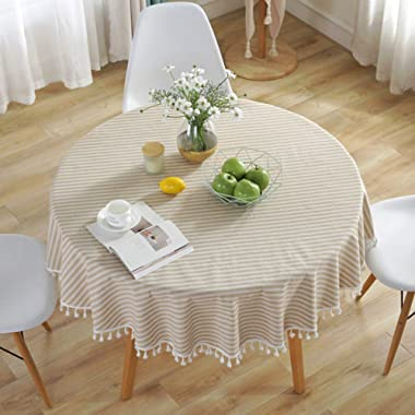 Bringsine Stripe Tassel Tablecloth Cotton Linen Stain Resistant/Dust-Proof Waterproof Table Cover for Kitchen Dinning Tabletop Decoration (Round,60 Inch, Pink)