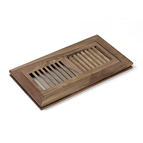 4-inch x 10-inch American Walnut Wood Flush Mount Floor Register Vent Cover  Grille Unfinished by WELLAND, 3/4\