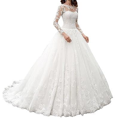 check out 6d162 23e7a Nanger Damen Spitze Hochzeitskleider mit Lang Ärmel ...