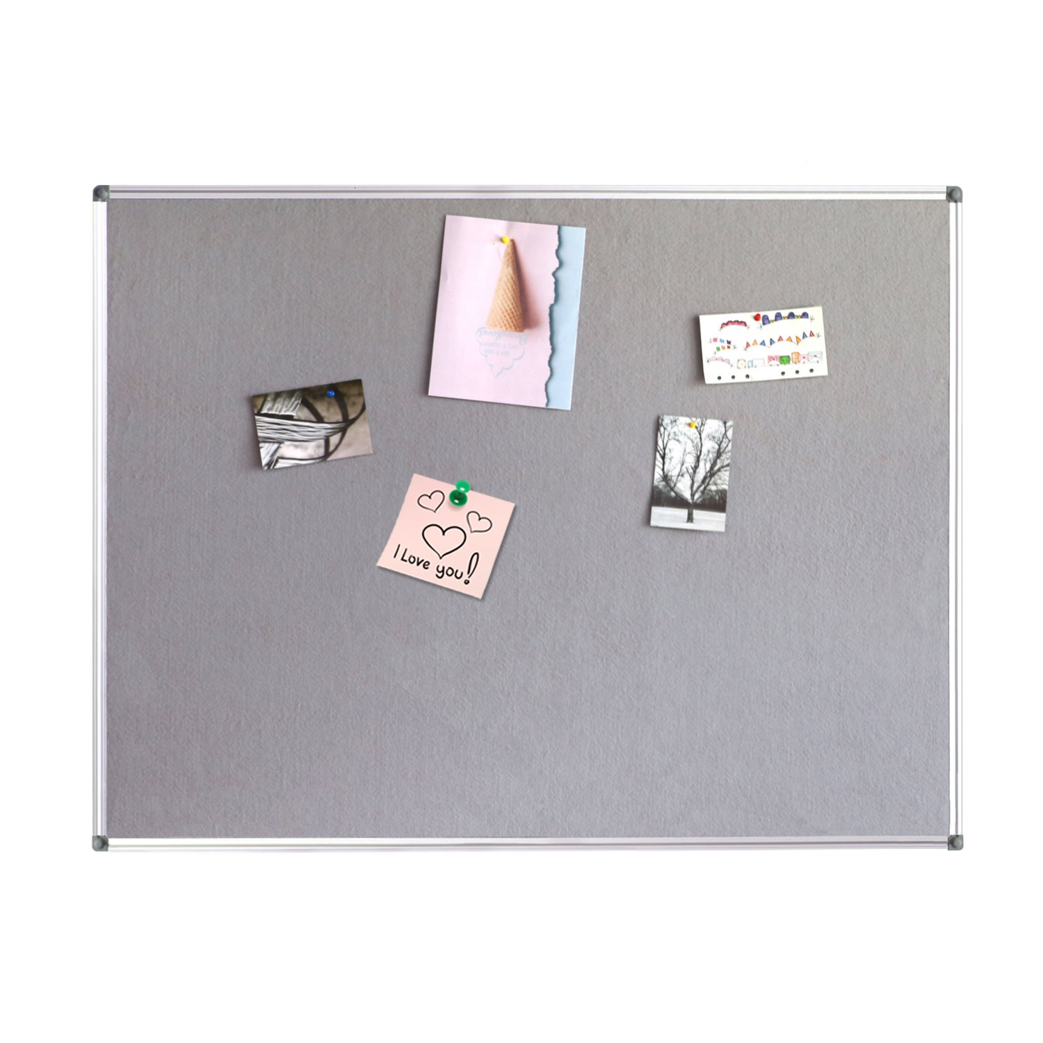 4 THOUGHT Fabric Bulletin Board 48 x 36 Inches Wall Mounted with Silver Aluminium Frame Message Memo Pin Board for Display and Organize Office or Classroom, 4 x 3 Feet, 10 Push Pins Included, Gray