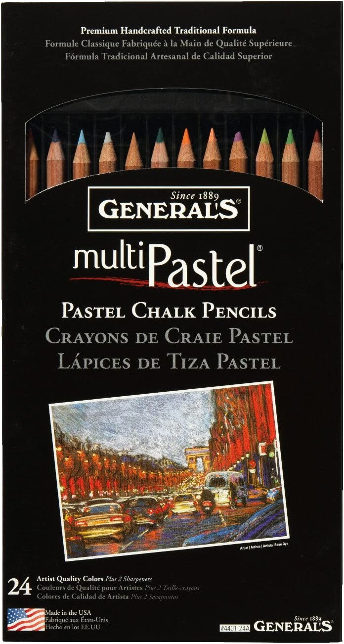 Set of 24 Generals Multi-Pastel Non-Toxic Chalk Pencil with Sharpener and Project Booklet Assorted Color