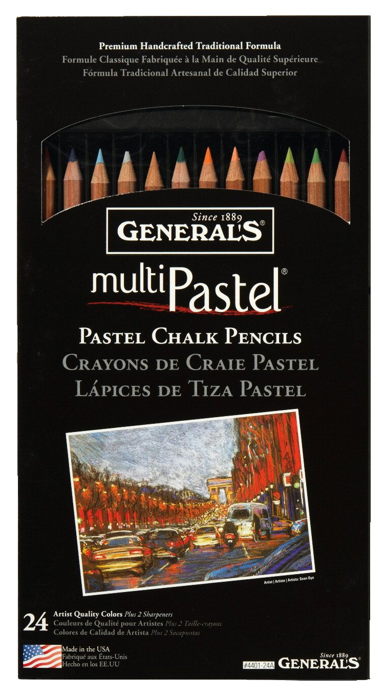 General's Multi-Pastel Non-Toxic Chalk Pencil with Sharpener and Project Booklet, Assorted Color, Pack of 24 General Pencil Co Inc 4401-24A