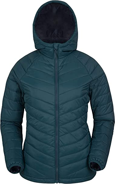 Adjustable Hoodie Ladies Lightweight Jacket Water Resistant Mountain Warehouse Florence Womens Long Jacket Heat Rating of -40C -Ideal for Cold Winter Weather Padded