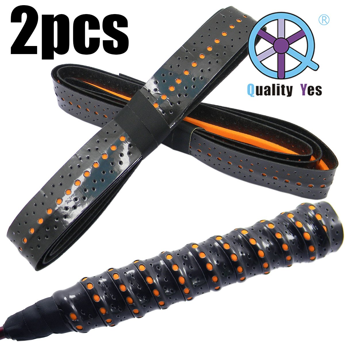 Quality Yes QY 2Pack Double Color Widened Perforated Super Absorbent Tennis Racket Overgrip Anti Slip Keels Badminton Racket Tape Wrap Table Tennis Racket Tape, Black