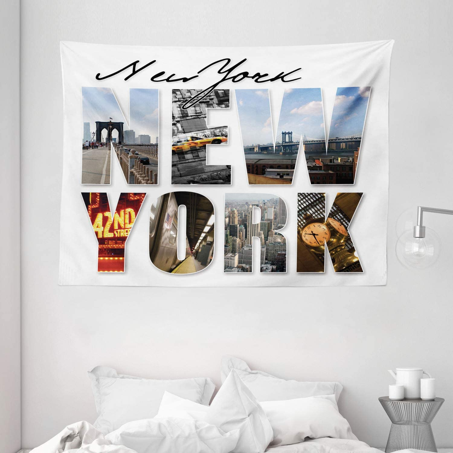 Amazon Com Ambesonne Nyc Decor Collection New York City Themed Collage Featuring With Different Areas Of The Big Apple Manhattan Scenery Bedroom Living Room Dorm Wall Hanging Tapestry 80 X 60 Inches Multi