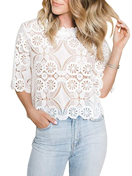 e8ea0c2d4835 Simplee Women's Tops Half Sleeve Mock Neck Mesh Lace Crop Top Sheer Blouse See  Through Shirt