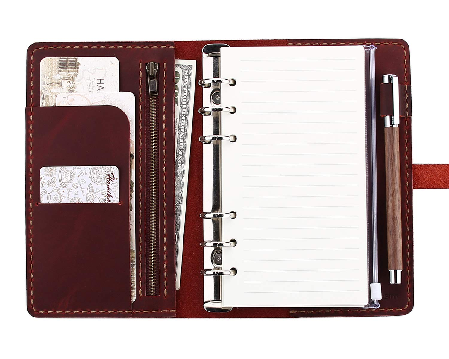 Refillable Leather Journal Writing Notebook, A6 Ring Binder Refillable Diary Notepads, Vintage Handmade Travel Organizer Agenda for Men Women - Wine