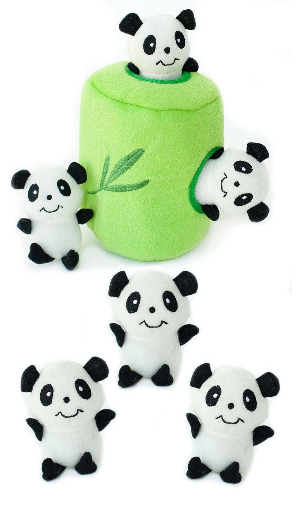 ZippyPaws Panda 'n Bamboo Burrow Toy with 3 Pandas, Plus 3 Extra Panda Refills