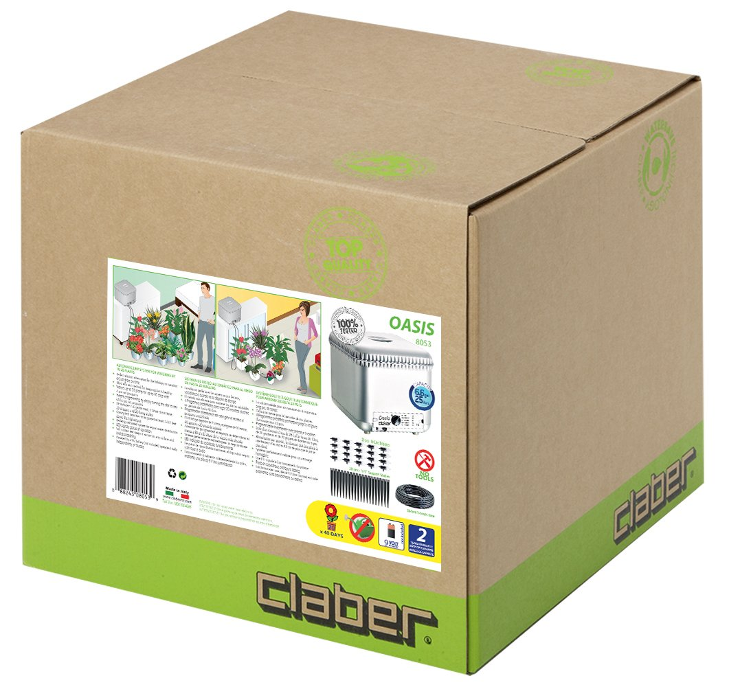 Claber 8053 Oasis 4-Programs/20 Plants Garden Automatic Drip Watering System by Claber