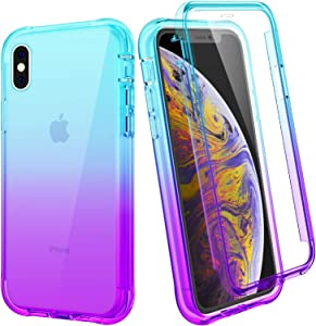 """Ruky iPhone Xs Max Case, Full Body Rugged Cover with Built-in Screen Protector Heavy Duty Shockproof Soft TPU Protective Clear Women Girls Phone Case for iPhone Xs Max 6.5"""", Teal Purple"""