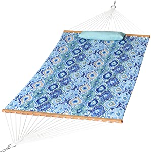 Prime Garden Quilted Fabric Hammock with Pillow, Hardwood Spreader Bars, 2 People (Blue Pattern)