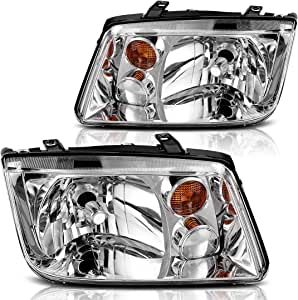 AUTOSAVER88 Headlight Assembly Compatible with 2002-2005 Volkswagen Jetta Chrome Housing w/o Fog Lamps (Driver and Passenger Side)