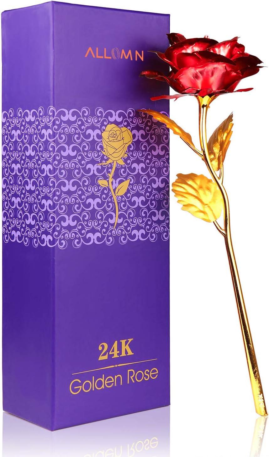 Rosa 24 K chapado en oro rosa flor con caja de regalo mejor regalo para el día de San Valentín Día de la madre Navidad cumpleaños dorado/rojo/morado/azul (Rojo)