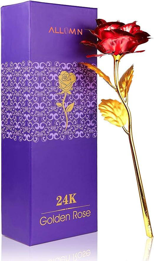Rosa 24 K chapado en oro rosa flor con caja de regalo mejor regalo ...