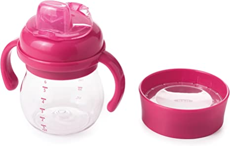 6 Ounce Pink OXO Tot Transitions Soft Spout Sippy Cup Set