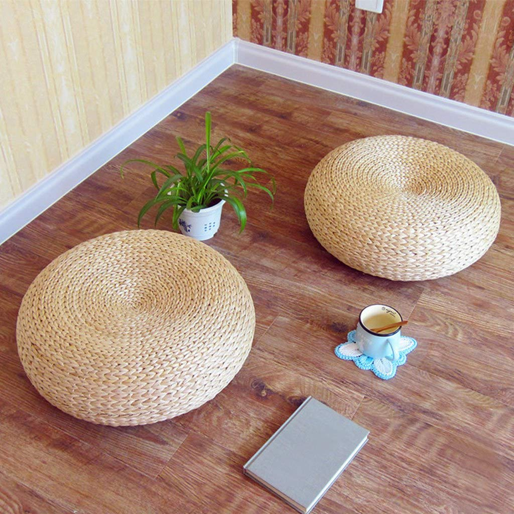 Japaness Style Straw Futon Knitted Round Seat Cushion by VnHome