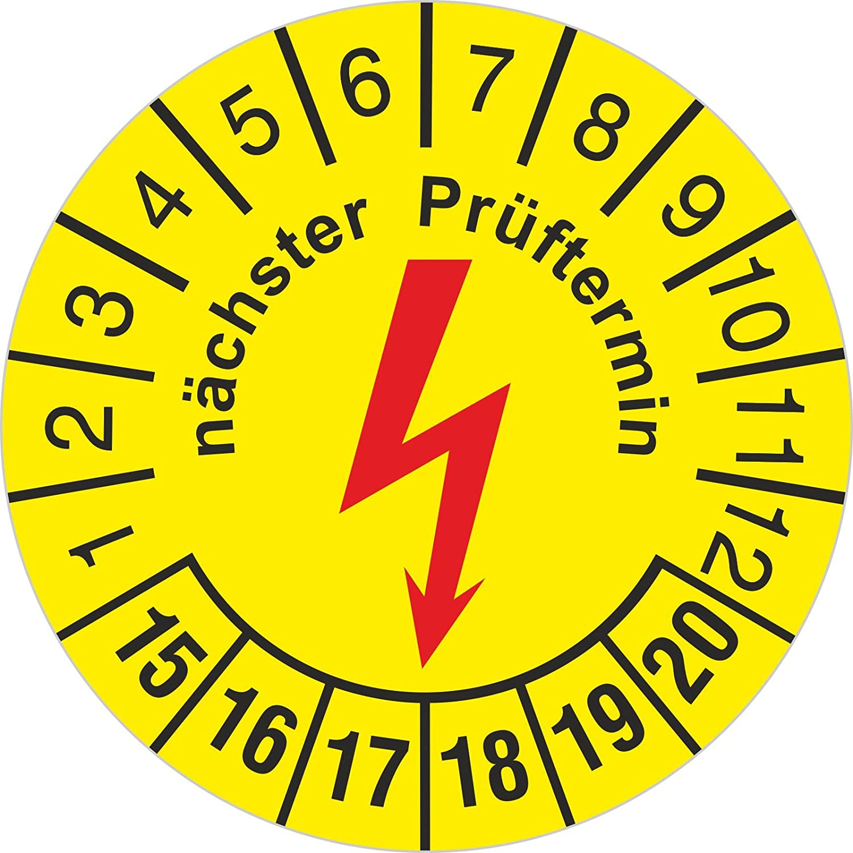 100 Stü ck Prü fplakette nä chster e-Check Elektrocheck Elektro Prü fung 30 mm rund 2015-2020 Druckspezialist