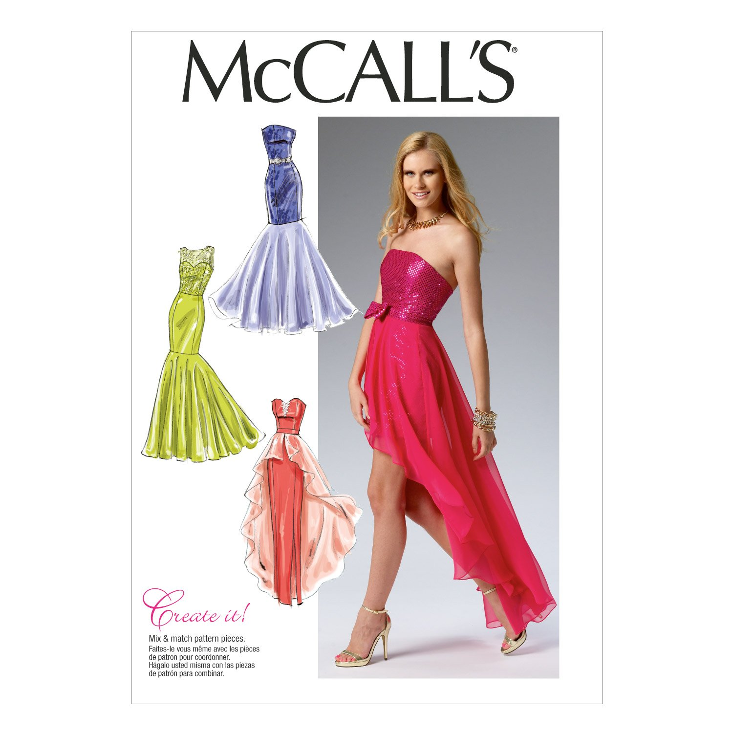 McCalls Patterns M7569A50 Misses Bodice and Sleeve Variations Column and Mermaid-Style Dresses