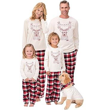 3f8f3a5077d6d Ensemble Pyjama Noel Famille Père Noël Enfant Femme Homme 2 Pièces Fille  Garcon Homewear Renne Manches Longues pour Toute La Famille Chemisier  Pantalon à ...