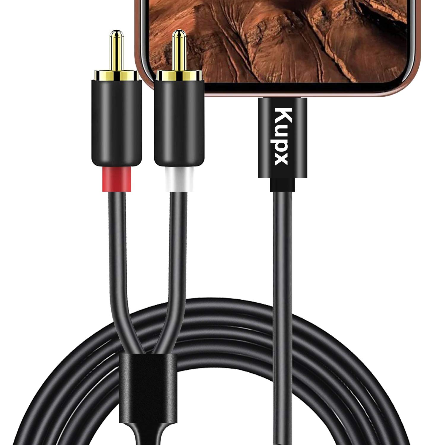 Kupx 4ft 2-Male RCA to IOS Adapter Audio Stereo Cable Aux Cord Compatible with iPhone 11 X XR XS MAX 8 7 S Plus Pad Pro Mini Air Pod Touch for Home Speakers Car Aux Speakers Power Amplifier and Others