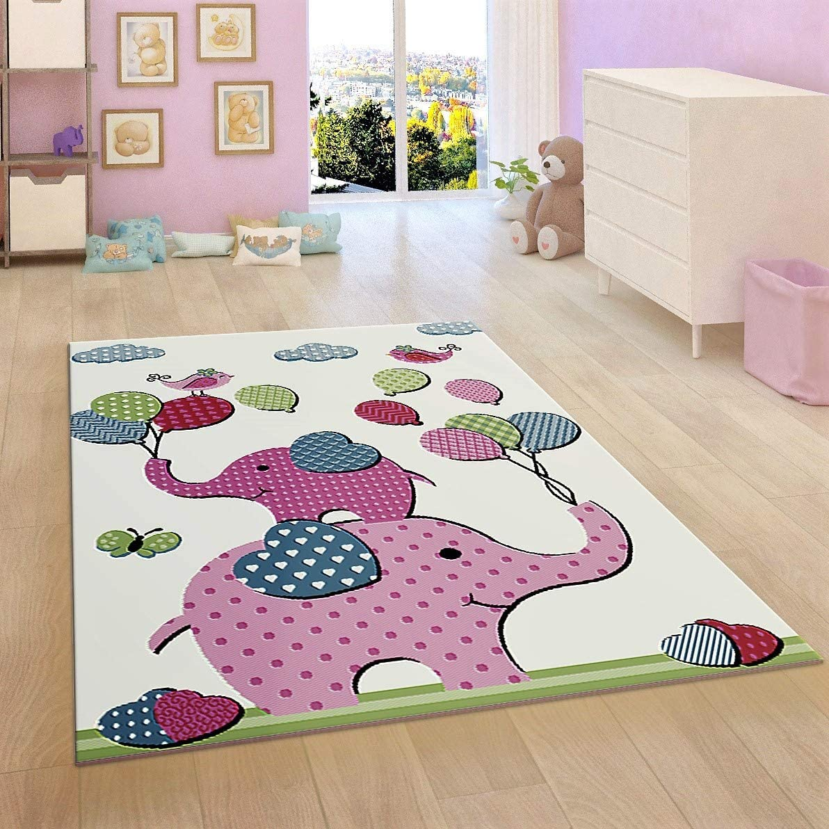 26x5 ft Woven Mat Low Pile Carpet for Baby Playroom /& Bedroom Kids Children Nursery White Cream Rug Elephant 80x150 cm