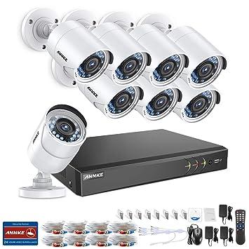 ANNKE Kit Sistema de Seguridad CCTV Cámara de vigilancia Luz de estrella 8CH 3MP H.