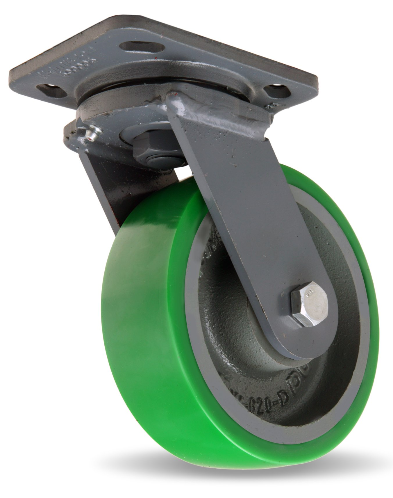 Hamilton Workhorse Plate Caster, Swivel, Duralast Polyurethane Wheel, Precision Ball Bearing, 1200 lbs Capacity, 6'' Wheel Dia, 2'' Wheel Width, 7-1/2'' Mount Height, 5'' Plate Length, 4'' Plate Width