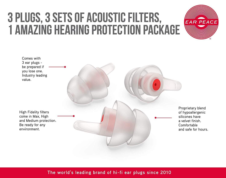 EarPeace HD Concert Ear Plugs - High Fidelity Hearing Protection for Music Festivals, DJs & Musicians (Standard, Black Case) by EarPeace