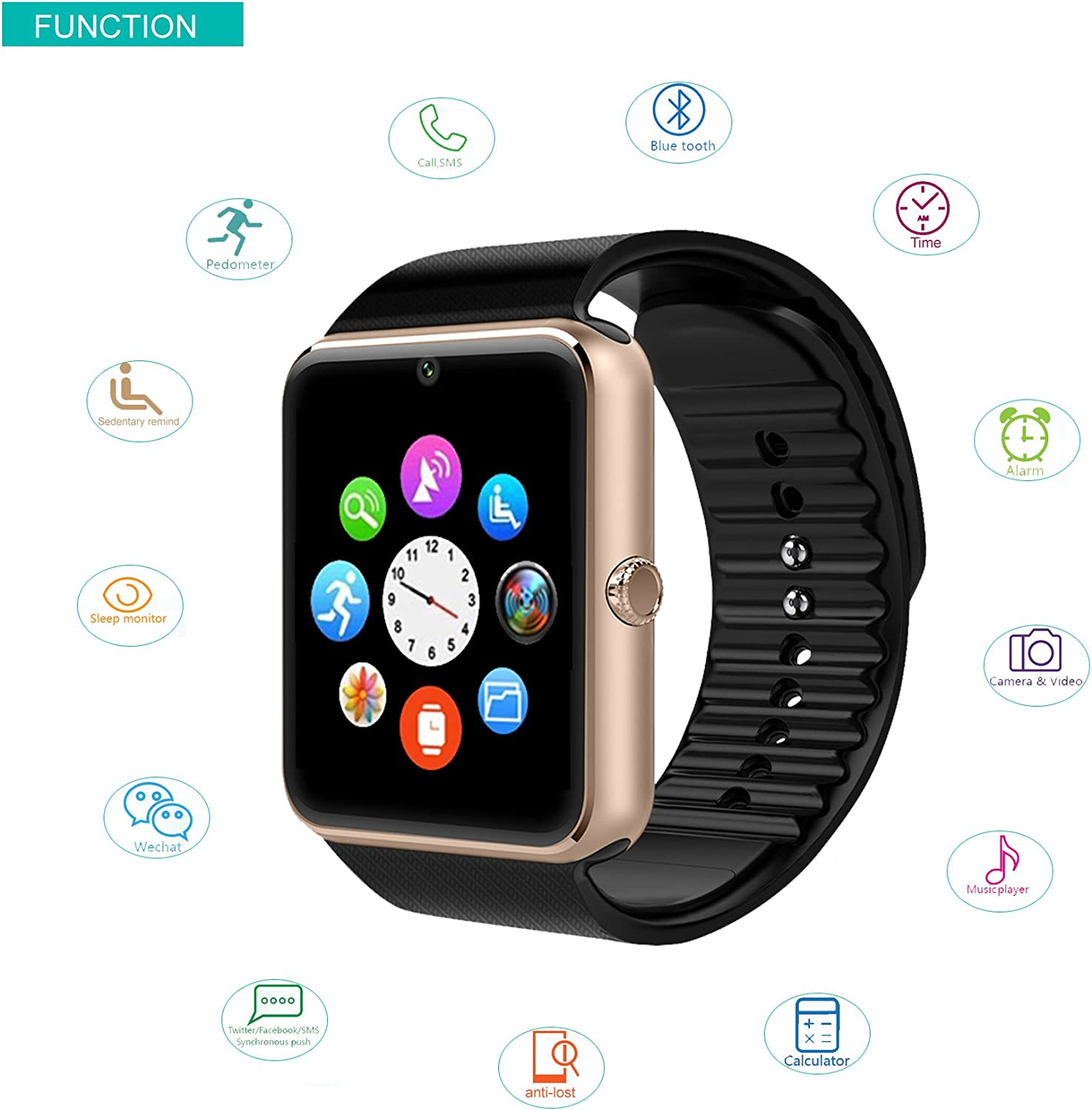 Amazon.com: Willful SW016 Bluetooth Smart Watch with Camera ...