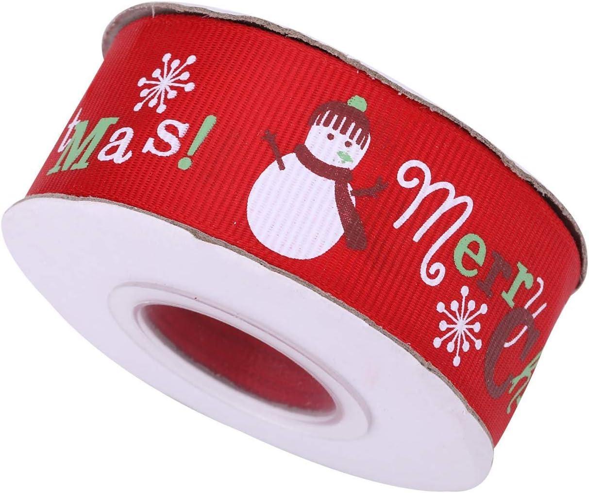 D/écoration Festive Trimming Shop No/ël Ruban Gros Grain No/ël Vacances Imprim/é Snowglake P/ère No/ël Rubans pour Emballage Cadeau Rouge 10mm x 25 Yards