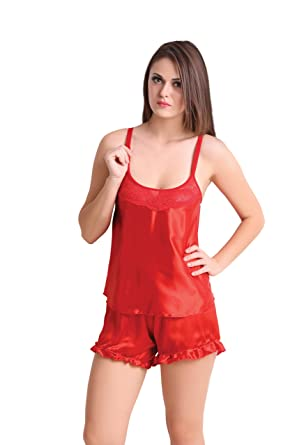1e09688326 Image Unavailable. Image not available for. Color  Red Baby Doll Dresses  With Panty Sexy Women Lingerie Nightwear Babydoll Sets of 2 Bra Penty