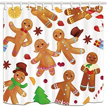 NYMB Christmas Shower Curtains Gingerbread Man And Woman Sweet Love Please Mildew Resistant Polyester
