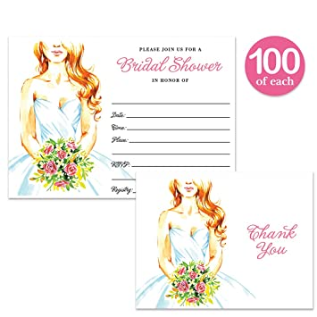 bridal shower invitations thank you cards with envelopes 100 of each pretty bride