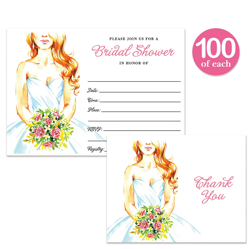 Bridal Shower Invitations & Thank You Cards with Envelopes ( 100 of Each ) Pretty Bride Matching Set Fill-in Invites & Folded Thank You Notes Wedding Party Gift Thanks Great Value Combination Pair
