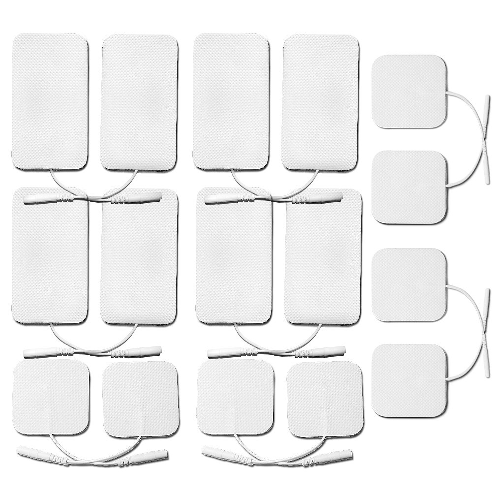 OudysCare Self-adhesive Reusable Replacement Electrode Pads for Digital Massager Units and TENS EMS Machine Device - Square and Rectangular Mixed (16-Pack)