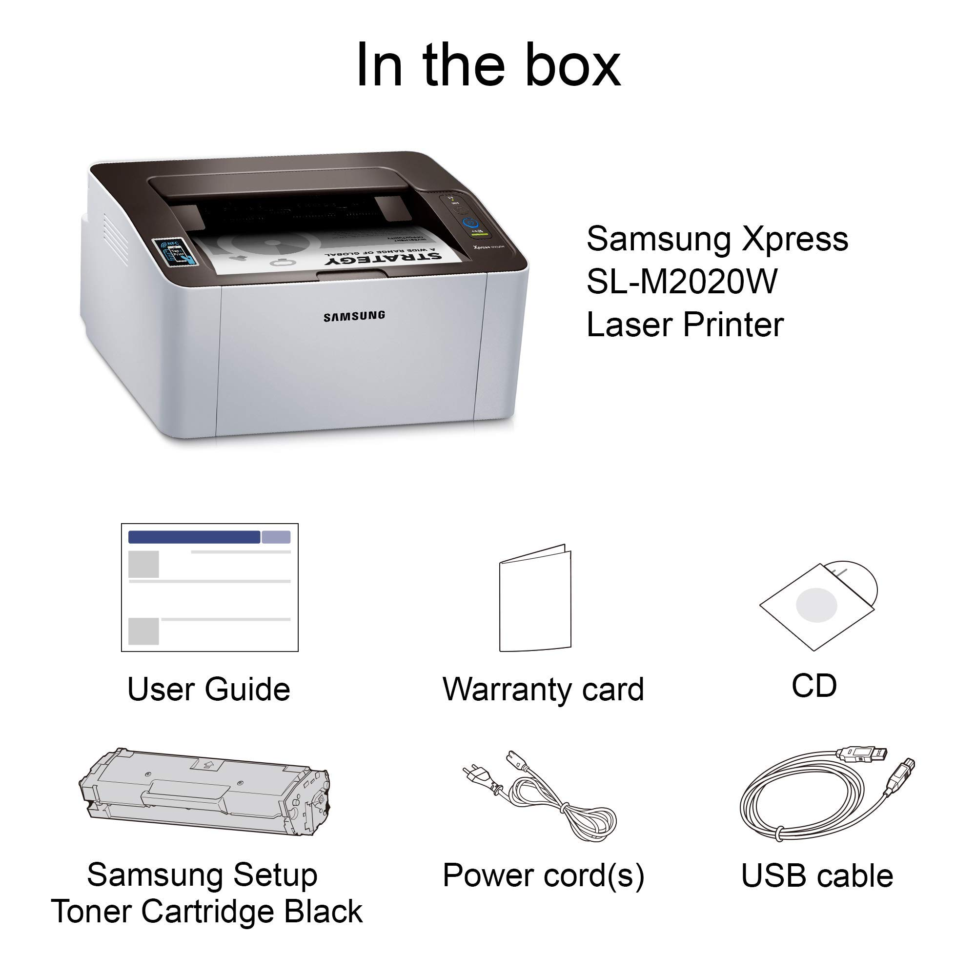 Samsung Xpress M2020W Wireless Monochrome Laser Printer with Simple NFC + WiFi Connectivity (SS272H) (Renewed) by HP (Image #4)
