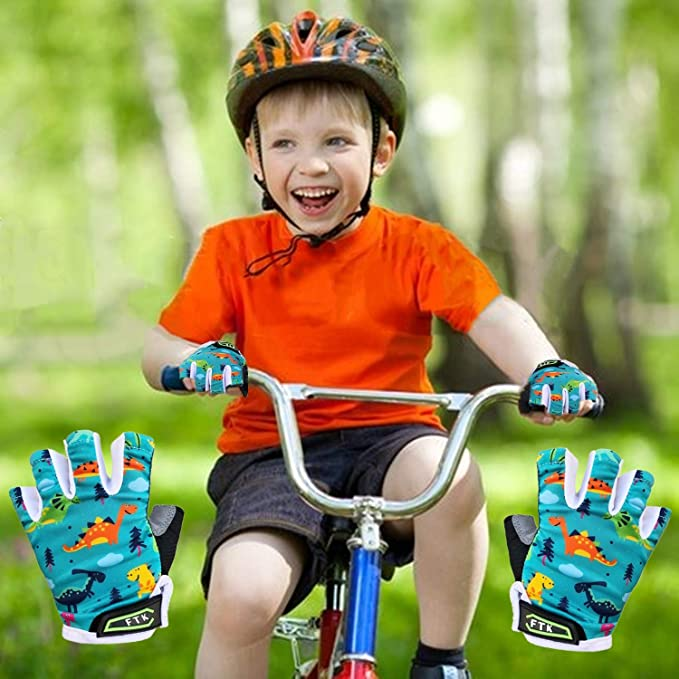 Fahrradhandschuhe Kinder Halbfinger Sport Fahrrad MTB 2-10 Jahre Blau Rosa Grün