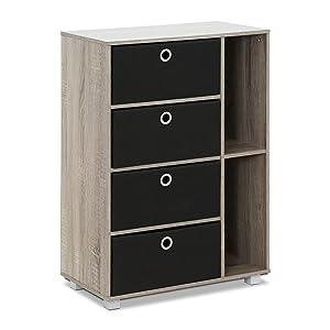Furinno 11159GYW/BK Multipurpose Storage Cabinet French Oak Grey/Black