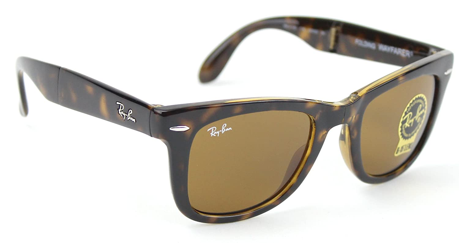 3b918fd5e1e0a Amazon.com  Ray-Ban RB4105 710 Wayfarer Folding Tortoise   Brown B-15 Lens  50mm  Shoes